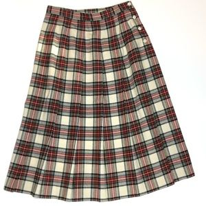 Vintage LL Bean Pleated Plaid Skirt Wool 12 USA